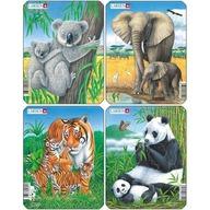 Larsen - Set 4 Puzzle-uri Animale: Koala, Elefant, Tigru, Panda 8 piese