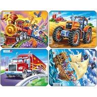 Larsen - Set 4 Puzzle-uri Pirati, Tractor, Camion, Tren 8 piese
