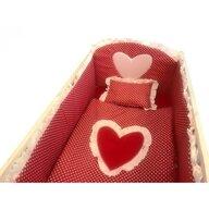 Deseda - Lenjerie de pat bebelusi cu aparatori laterale  Te iubesc puisor 120x60 cm rosu cu alb