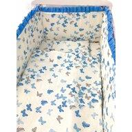 Croitoria Noastra - Lenjerie de patut bebelusi 120x60 cm 5 piese cu aparatori laterale pe burete CN Roi de fluturi albastru