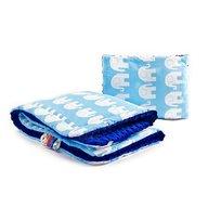 Sensillo - Lenjerie Minky Set 100x75/35x30 cm Blue Elephants white