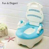 Little Mom - Olita educationala cu manere Cow Potty Blue