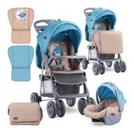 Lorelli - Carucior 2 in 1 Foxy , cos auto inclus , Blue & Beige Moon Bear