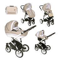 Lorelli - Carucior set Mia, roti cu camera, cos auto inclus, Light , Dark Beige