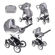 Lorelli - Carucior set Mia, roti cu camera, cos auto inclus, Light , Dark Grey