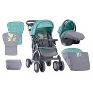 Lorelli - Carucior set Toledo, cos auto inclus, maner reversibil, Bunnies Grey, Green