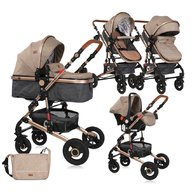 Lorelli - Carucior transformabil 3 in 1 Alba, cos auto inclus, Dark Beige