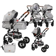 Lorelli - Carucior transformabil 3 in 1 Alba, cos auto inclus, Light Grey