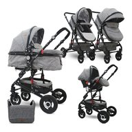 Lorelli - Carucior transformabil 3 in 1 Alba , Dark Grey