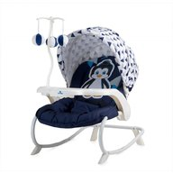 Lorelli - Fotoliu balansoar Dream Time, cu masuta si carusel, Blue & White Pinguin