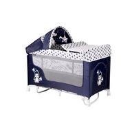 Lorelli - Patut pliabil San Remo Rocker, 2 nivele si accesorii, sistem de leganare, Blue and White Penguin
