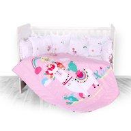 Lorelli - Set lenjerie pat , 8 piese , 70x140 cm , bumbac ranforsat , Happy Lama Pink