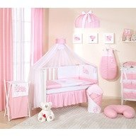 MamoTato Lenjerie patut 14 piese 120x60 Cute Bird Pink