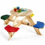 Plum - Masa de joaca din lemn cu scaune colorate pentru 4 copii