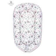 MimiNu - Cosulet bebelus pentru dormit, Baby Nest 105x66 cm,Velvet Birds pink/Pink