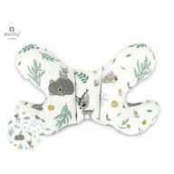 MimiNu - Perna bebelusi Butterfly, Forest friends Grey/Mint