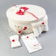 Nikos Collection - Cutie si trusou botez complet, Rosu cu buline