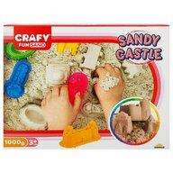 CRAFY - Nisip kinetic Castel  Cu tavita, 1000 gr, Cu sabloane Fun Sand