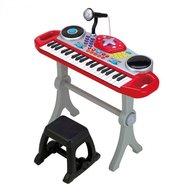 Winfun - Orga muzicala cu scaunel, consola DJ cu platane si microfon, Rosu cu negru
