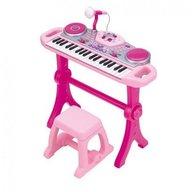 Winfun - Orga muzicala cu scaunel, consola DJ cu platane si microfon, Roz