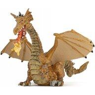 Papo - Figurina Dragon auriu inaripat cu flacara