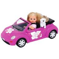 Simba - Papusa Evi Love 12 cm Evi's Beetle cu masina, catelus si accesorii