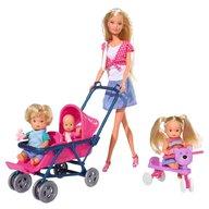 Simba - Papusa Steffi Love 29 cm Baby World cu 2 copii, 1 bebelus si accesorii
