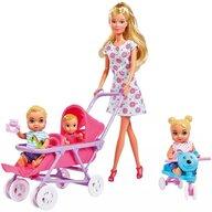 Simba - Papusa Steffi Love Baby World Cu accesorii, 29 cm, Cu 2 copii, Cu 1 bebelus, In rochie cu floricele