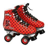 Saica - Patine cu rotile pentru fete Ladybug Buburuza Miraculoasa, 4 roti si frana, marime 33, rosu cu buline negre