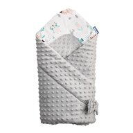 Sensillo - Paturica de infasat Minky Wrap Animals Light Nou-nascut din Bumbac, 80x80 cm, Gri