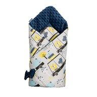 Sensillo - Paturica de infasat Minky Wrap Zoo Nou-nascut din Bumbac, 80x80 cm, Albastru