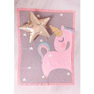 Bizzi Growin - Paturica tricotata din bumbac, Unicorn roz cu auriu