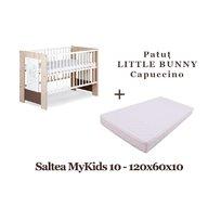 KLUPS Patut Copii Din Lemn  LITTLE BUNNY Capuccino + Saltea MyKids Basic II 10cm