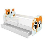 MyKids - Patut junior cu sertar + saltea Animals , Cat, 140x70 cm