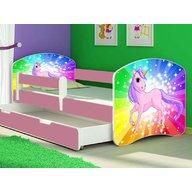 MyKids - Patut tineret Rainbow Unicorn cu sertar si saltea 140x70