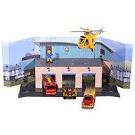 Dickie Toys - Pista de masini  Fireman Sam, Sam Fire Rescue Team cu 3 masinute, 1 elicopter si 1 figurina
