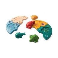 Plan Toys - Puzzle din lemn cu tematica marina