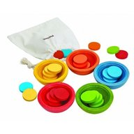 Plan Toys - Set cu discuri sort&count cups