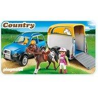 Playmobil Pony Farm Masina cu remorca pentru cal
