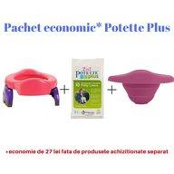 Potette Plus - Pachet economic Roz olita portabila + liner reutilizabil + 10 pungi biodegradabile