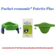 Potette Plus - Pachet economic Verde olita portabila + liner reutilizabil + 10 pungi biodegradabile