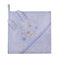 Womar - Prosop de baie cu gluga imprimeu animal 80 x 80 cm, Albastru