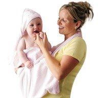 Clevamama - Prosop de baie pentru bebelus si mama Roz