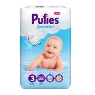 Pufies - Scutece Sensitive, Midi (6), 66 buc.
