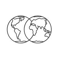 EWA - Puzzle din lemn Hemispheres of earth , Puzzle Copii , Decorativ 3D, piese 91