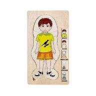 MamaMemo - Puzzle din lemn Corpul omenesc (baiat) , Puzzle Copii , In straturi, piese 36