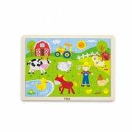 Viga - Puzzle din lemn Animale de la ferma , Puzzle Copii, piese 24