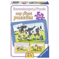 Ravensburger - Puzzle Animale prieteni, 3x6 piese