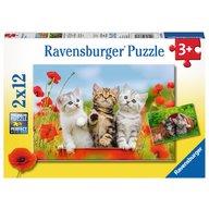 Ravensburger - Puzzle Aventura pisicutelor, 2x12 piese