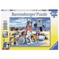 Ravensburger - Puzzle Catelusi pe plaja, 100 piese